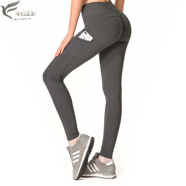 Freeskin Push Up Leggings con tasche Pantaloni sportivi da donna Fitness Gym Running Patchwork Leggings da allenamento per donna