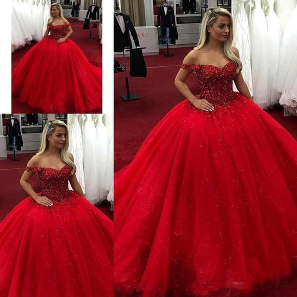 2019 Luxo Sexy Off the Shoulder Red vestido de baile quinceanera vestidos de tule frisado lantejoulas trem da varredura vestido de baile vestido pageant custom made