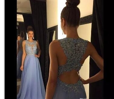 2018 Cheap Lavender A Line Lace Prom Dresses Jewel Neck Beads Sequined Applique Long Chiffon Formal Evening Party Gowns Floor Length Custom