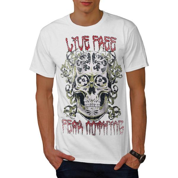 T-shirt da uomo Free No Fear Skull, 0 T-shirt a manica corta con stampa grafica a T con motivo stampato