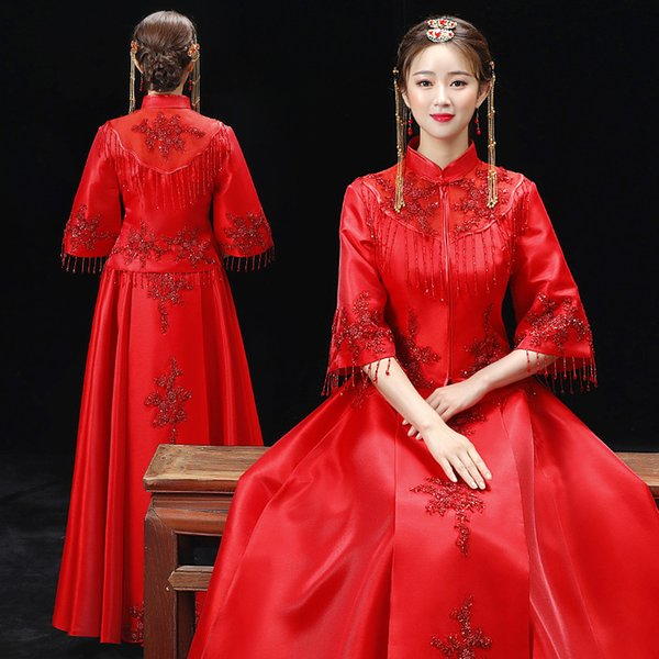 Chinese Bride Wedding Dress Gown Women Oriental Qipao Red Flower Exquisite Handmade Embroidery Tassel Cheongsam Toast Clothing