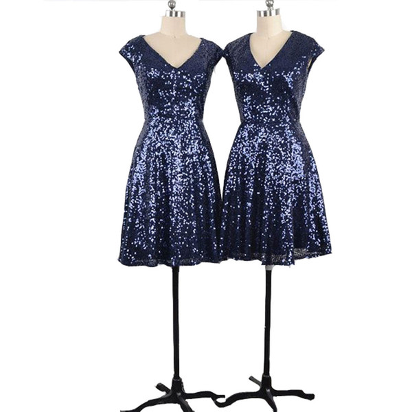 NEW ARRIVAL V Neck V Back Sequined Cap Sleeves Dark Blue Short Bridesmaid Dresses for Wedding Party Under 100