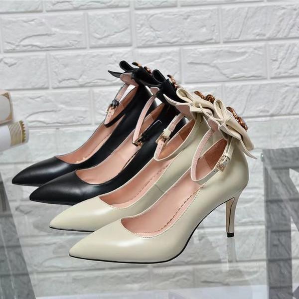 Huweifeng4 Brief Qualität Top Bee Metallschnalle Spitz High Heel Schuhe aus echtem Leder Perle Bogen Frau Kleid Schuhe mit Box