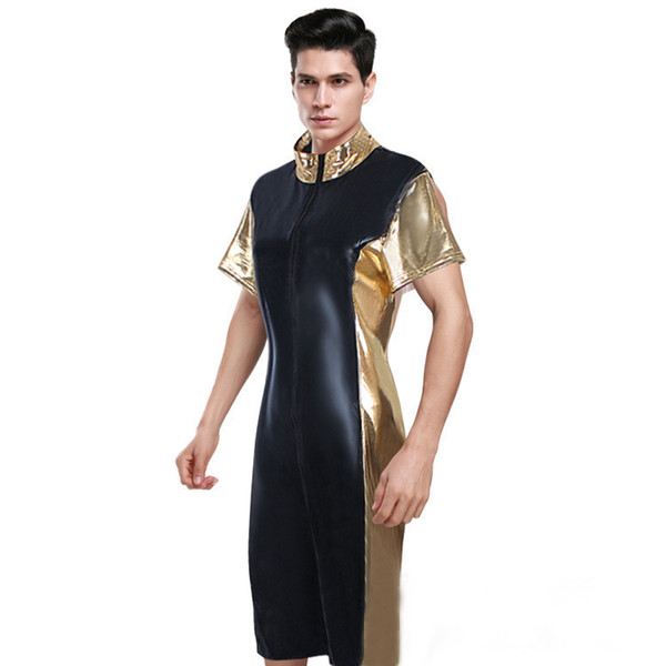 Sexy Men Black PU Leather Leotard Costumes Latex Zipper Catsuit Pole Dance Nightclub Erotic Body Suits PVC Fetish Game Uniforms