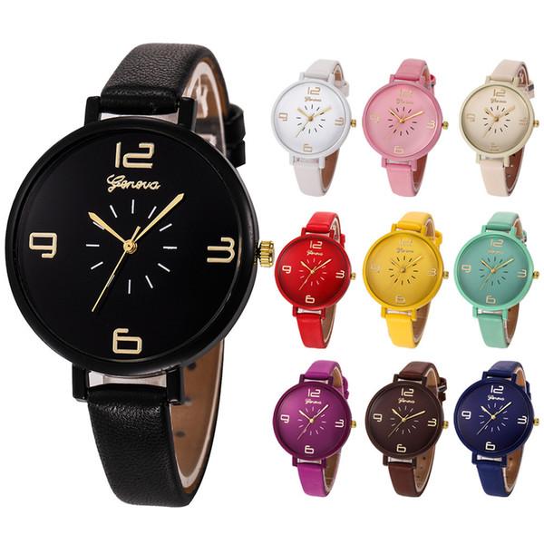Relojes mujer relojes mujer de lujo Casual Checkers Faux cuero cuarzo analógico reloj de pulsera reloj de la muchacha dignidad J.23