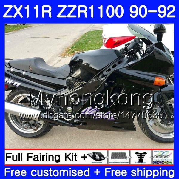 Cuerpo negro brillante para KAWASAKI NINJA ZX-11R ZZR 1100 ZX11R 90 91 92 205HM.3 ZZR1100 ZX11 R ZZR-1100 ZX-11 R ZX 11R 1990 1991 1992 Carenados