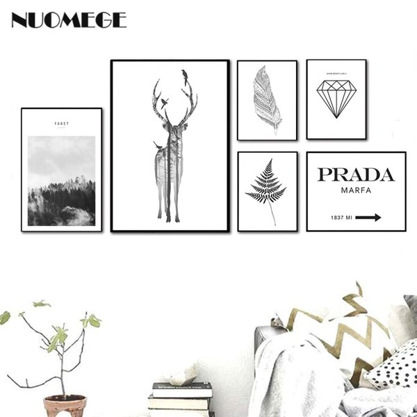 Nordic Style Landscape Poster Print Minimalist Wall Art Canvas Painting Deer Feather Picture for Living Room Home Decor