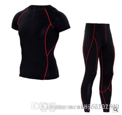 Male short sleeved T-shirt pants wicking Mens suit pants black line quick drying pants tee T-shirt
