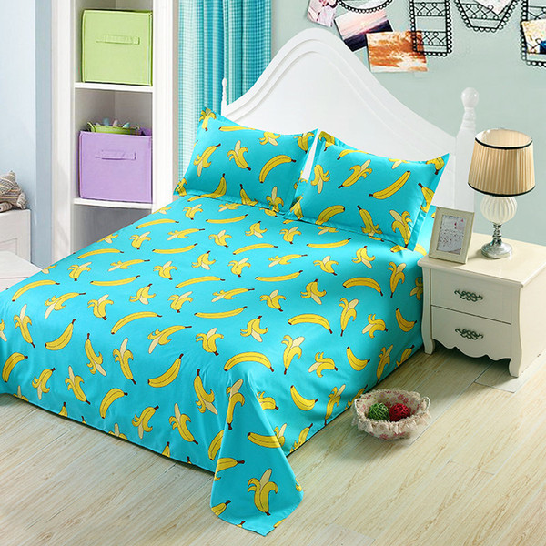 Beautiful Fruit Series Bed Sheets Home Textile Bedding Coverlet Flat Sheet Stripes Bed  Sheet Soft Warm Bedsheets