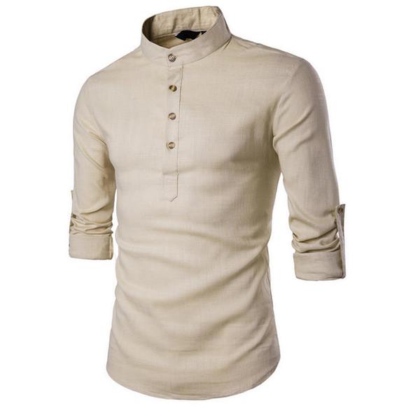 Agradável Primavera Verão Dos Homens de Linho De Algodão Misturado Camisa Gola Mandarim Respirável Confortável Estilo Chinês Tradicional Popover Henley