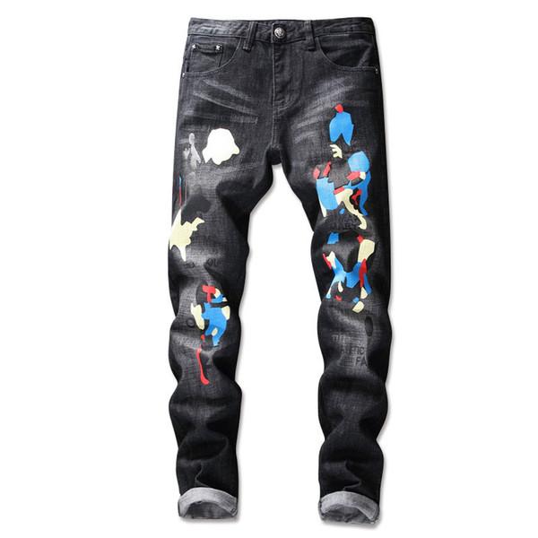 VINTAGE Spring Men's Pants Skinny Korean Style Trend Camo Print Jeans Hole Graffiti Colorful Paint Designer Jean Trousers for Men
