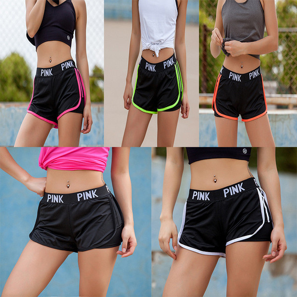 Summer Shorts Pink Letter Sport Fitness Yoga Shorts Love Pink Athletic Women Shorts Lady Running Leggings Gym Jogging Sportswear