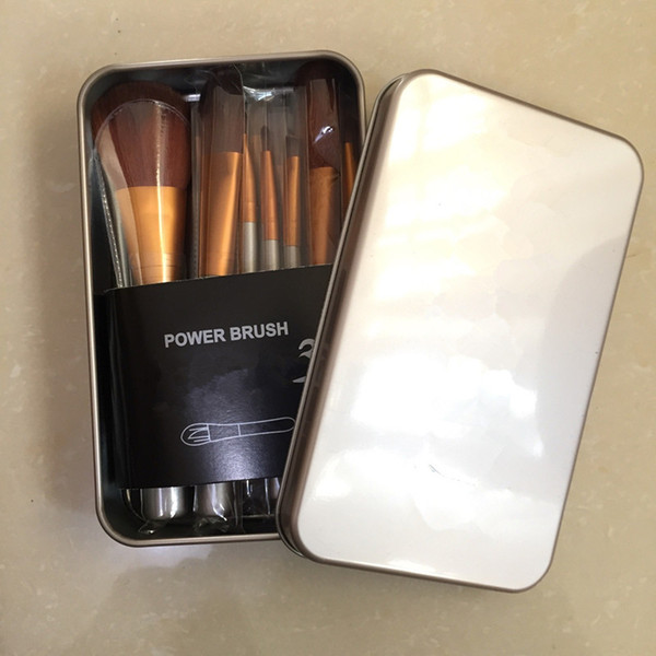 12 Spazzole per trucco di marca Pennello cosmetico per la marca Make Up Pennello Kit di attrezzi Pennelli per trucco professionale Set con scatola di ferro