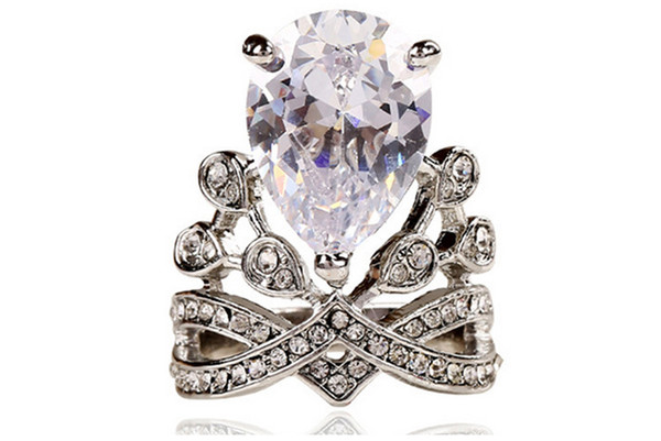 New Arrival Crystal Rings For Wedding Bride Princess Crown Band Ring Exquisite Propose Ring Water Drop For Women Good Quality Hot Selling