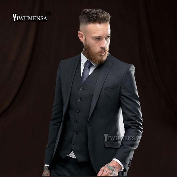 yiwumensa Elegant Formal wedding suits for men trajes de hombre slim fit mens suits with pants Black Prom Black Mnes 2018
