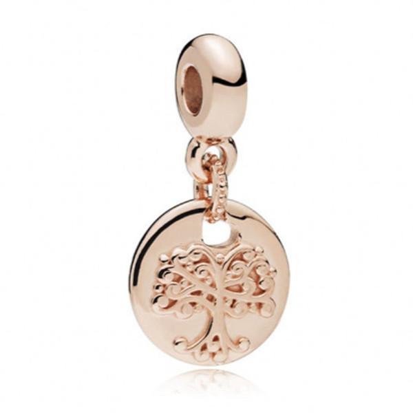 Yeni Otantik 925 Ayar Gümüş Boncuk Gül Aile Kökleri Kolye Charm Fit Pandora Bilezik Bileklik DIY Takı Aksesuarları