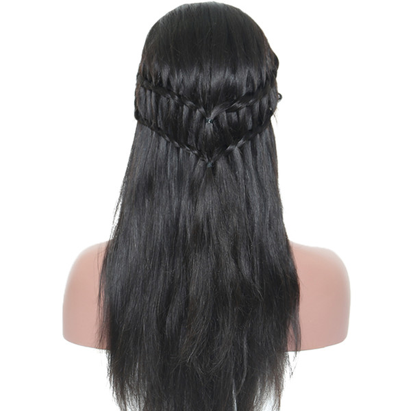 Middle Part 4*4 silk top glueless full lace wig with natural hairline around natural straight peruvian silk top lace front wigs
