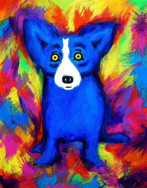 George Rodrigue Animal Blue Dog, Ölgemälde Reproduktion Hochwertiger Giclée-Druck auf Leinwand Modern Home Art Decor G003