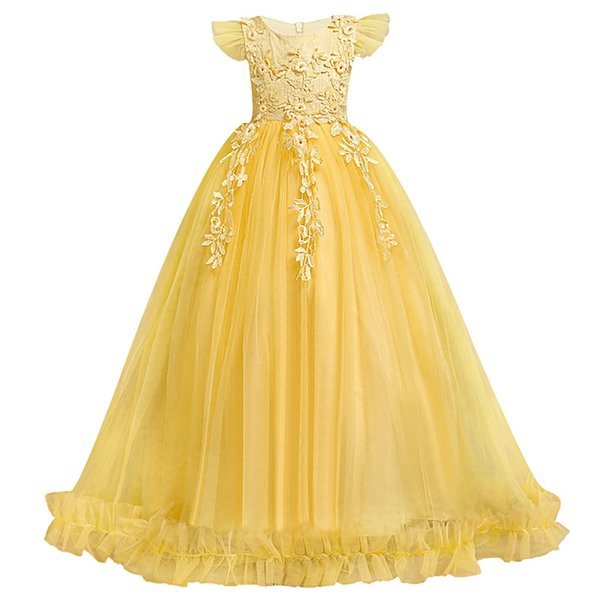 Princess Flower Girl Dresses Ball Gowns Long Sleeves Appliques Birthday Party christmas Dresses For Girl Wedding Guest Dress Formal Wear