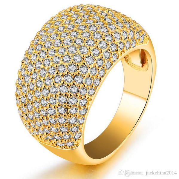 Choucong Moda Takı Tam Tiny Beyaz Safir 10KT Sarı Altın Dolu CZ Elmas Taşlar Kadınlar Düğün Band Yüzük'şıkların Hediye Için