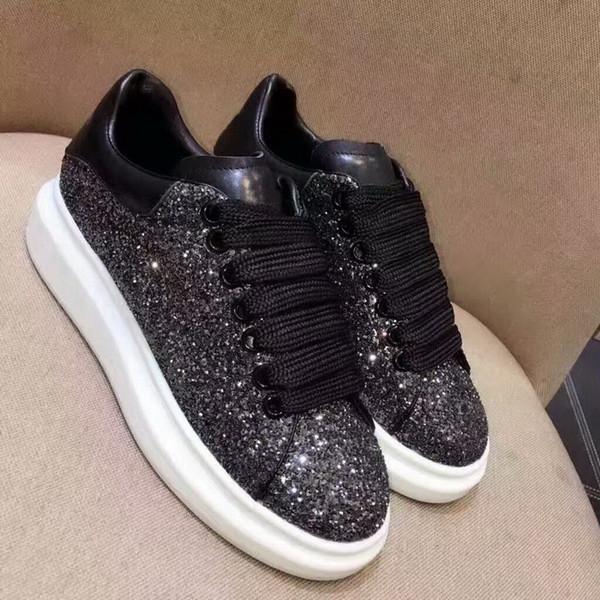 Nuevo estilo de la venta caliente de la marca hombres mujeres de cuero genuino zapatos ocasionales de los pares de calidad superior zapatos de la reina zapatillas de deporte aumentadas Eur35-45