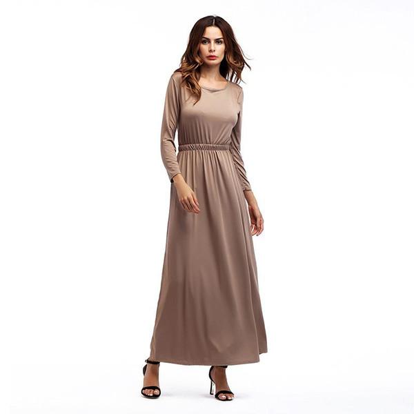 Women's Maxi Dress Autumn Long Sleeve O Neck Boho Beach Party Solid Casual Khiaki Gray Black Green Long Dresses