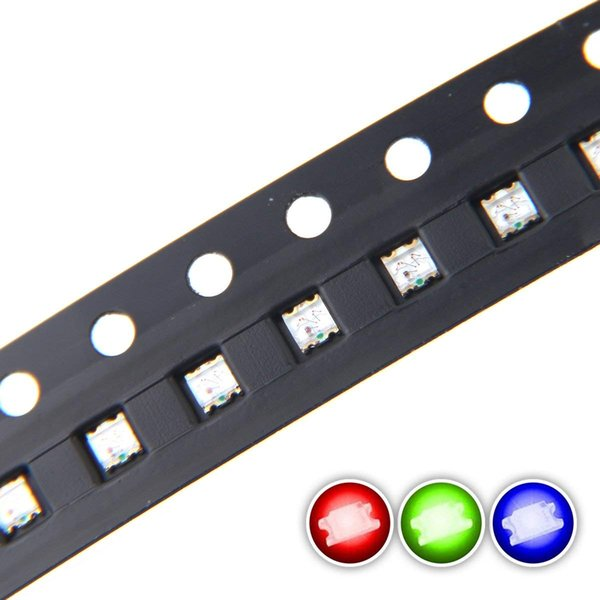 100 pcs 0603 SMD RGB Multicolor LED Diode Lights Chips (Red Green Blue Tricolor 1.6mm x 1.6mm Common Anode 4 pin DC 20mA/Color) Lighting