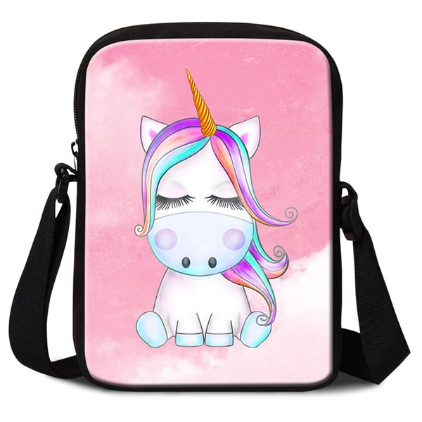 Cute Unicorn Animal Prints Mini Messenger Bags For Women Fashion Crossbody Bag For Traveling Girls Small Flaps Handbag For School Sac A Main