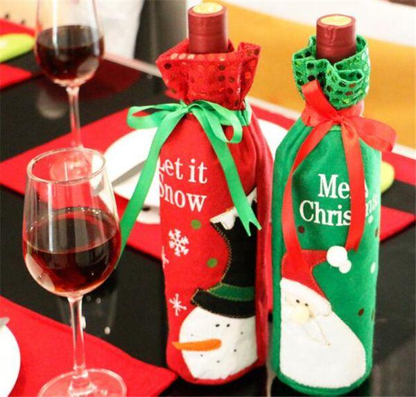 Bottiglie di Vino di Babbo Natale e pupazzo di neve modello bottiglia di vino borsa per decorazioni di Natale tabella Decor 2 Pack