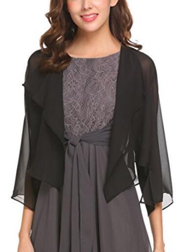 2018 Wholesale Price Chiffon Bridal Jacket Simple Style 3/4 Sleeves Wedding Bolero Black Gold Ivory