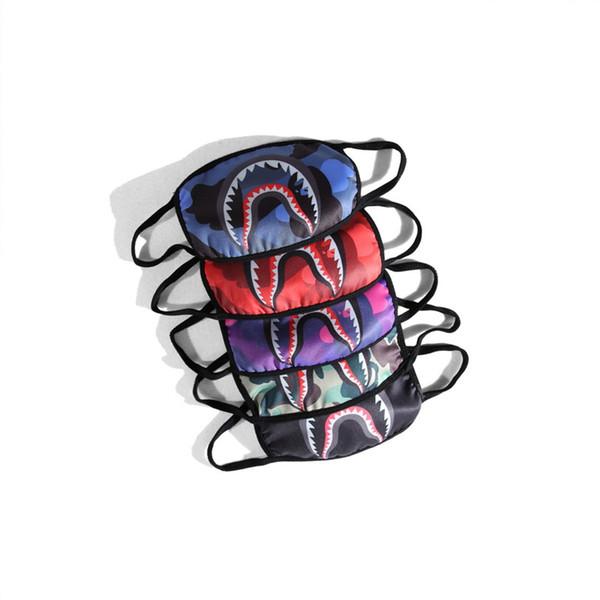 Tide Marque Cyclisme Masque pour Unisexe Mode Camo Shark Bouche Imprimé Masques Hiver Chaud Bande Dessinée Coton Masque Pour Le Visage