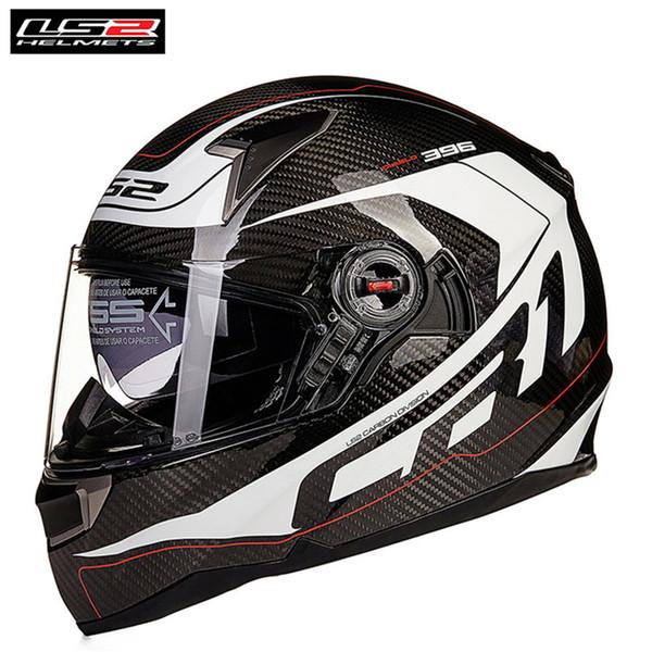 Casque de moto intégral en carbone LS2 Racing Capacetes Casque Motor Casco Dual Visors