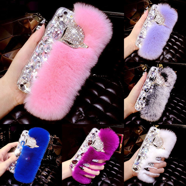 Rabbit Case Hair Fur Fox Bling TPU Soft Touch Warm Shockproof Women Lady Cover For iPhone XS Max XR X 8 7 6 Plus Samsung Galaxy Note 9 S9 S8
