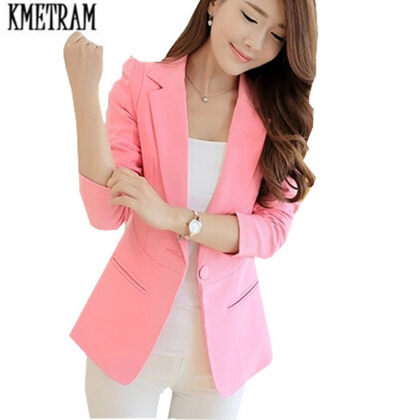 formal jackets women long blazers for ladiespink suit jacket female business suit blazer feminino manga longa KMETRAM HH006