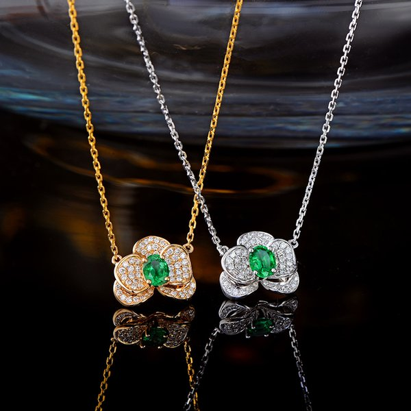 Caimao Natural Emerald Pendant Chain 14K White or Yellow Gold with 0.27ct H SI Diamonds Necklace S923
