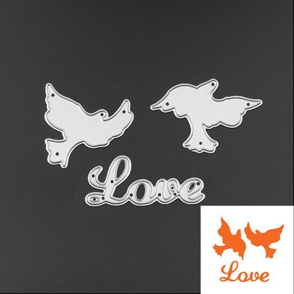 3pcs/Set New Love Dove Peace Pegion Metal Steel Cutting Dies Stencil for DIY Scrapbooking Album Paper Cards Decorative Crafts