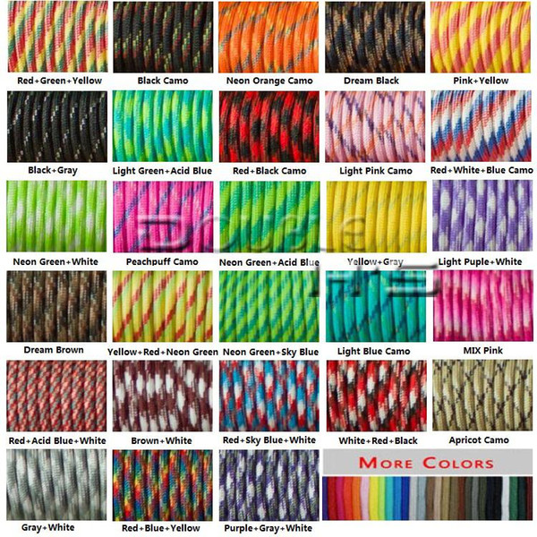 top popular 100FT 550 Paracord Parachute Cord Lanyard Mil Spec Type III 7 Strand Core 2021