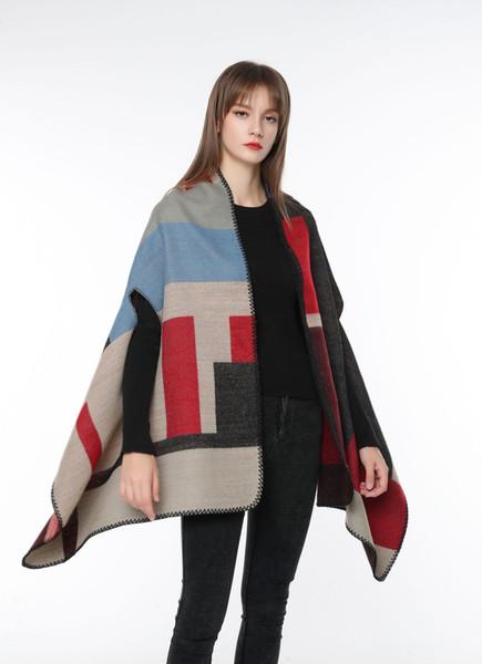 Al por mayor-Nuevo otoño e invierno capa de manto con capucha mantón femenino primavera y otoño abrigo de doble uso bufanda envío gratis