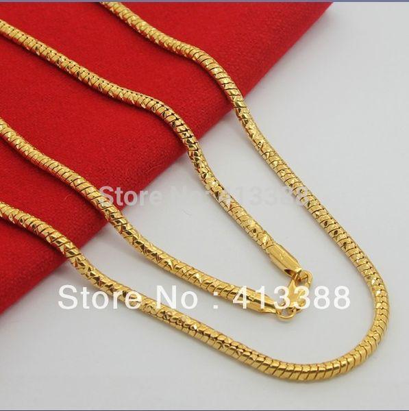 Toute venteHaute Qualité Nouveautés 2014 24K Plaqué De Luxe Serpent Bijoux 3.5mm Largeur 70cm Long Collier Chaîne En Or Pour Hommes NEC1527
