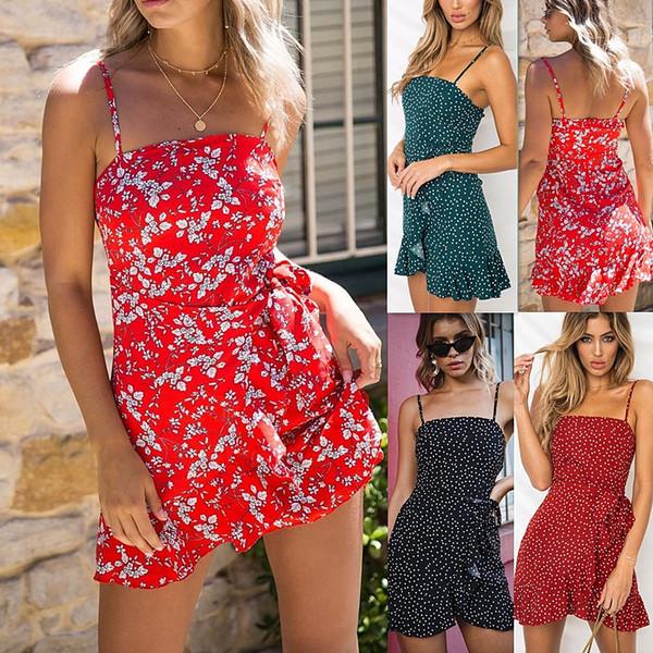 Bayan Çiçek Baskılı Kısa Yaz Plaj Elbise 2018 Asimetrik Hem Kravat-bel Rahat Elbise Spagetti Sapanlar ile