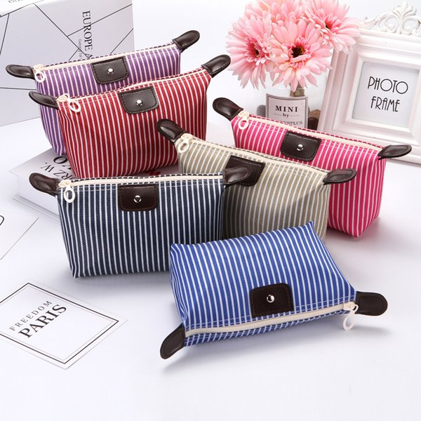 top popular 2018 High Quality Lady stripe MakeUp Pouch Cosmetic Make Up Bag Clutch Hanging Toiletries Travel Kit Jewelry Organizer Casual Purse 2019