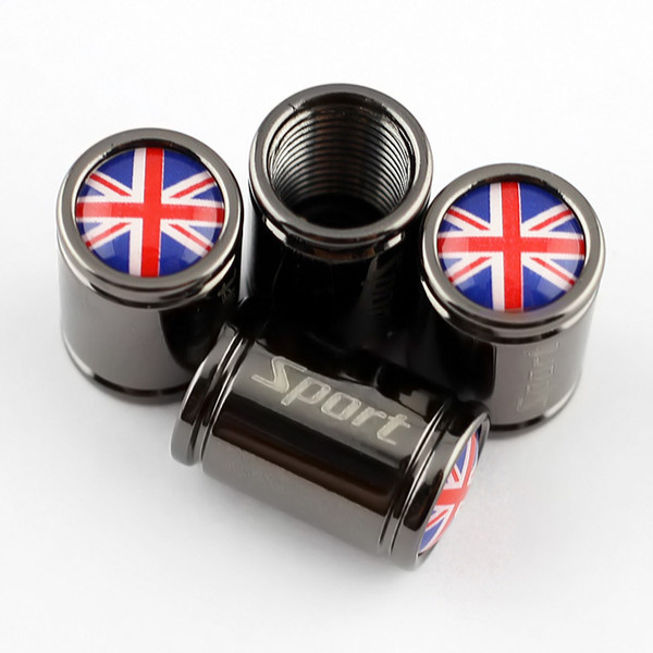 Alloy Titanium Vehicle Car Accessories Air Wheel Tire Tyre Valve Dust Cover Screw Caps Parts Great Britain UK Nation Flag Logo Style