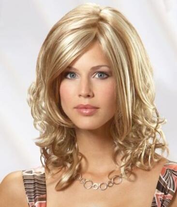 Peruca de cabelo sintético loira linda princesa Médio Curly Light 16 polegadas