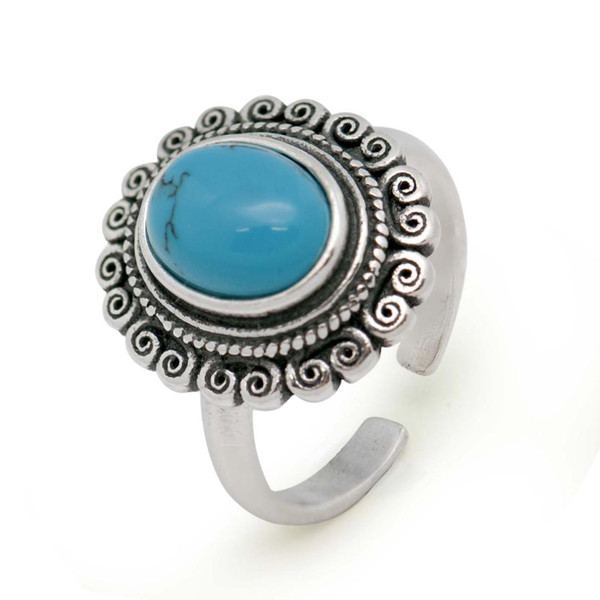 Vintage Created Green Turquoise 925 Sterling Silver Flower Adjustable Ring