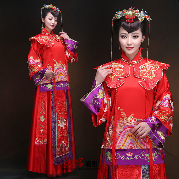 top popular Ancient China traditional red clothing chinese style wedding vintage suits for women de femme un mariage traditionnel chinois Cheongsam 2019