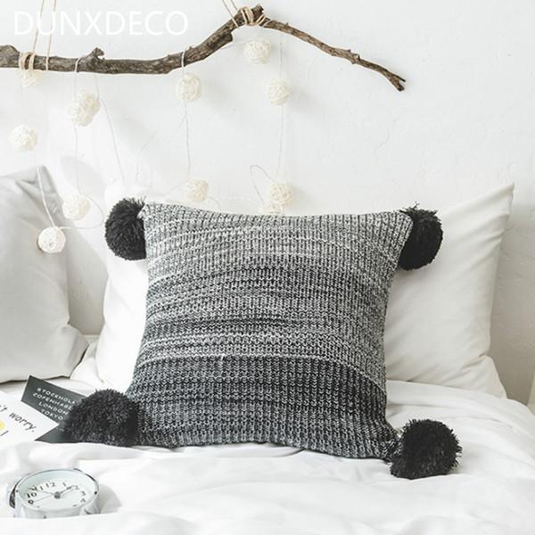 Großhandel Kissenbezug Dekorative Kissen Fall Nordic Grau Rosa Farbverlauf  Knitting Cute Balls Werfen Zimmer Sofa Stuhl