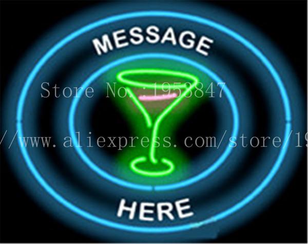 "Custom Message Cocktail Glass Circular NEON SIGN REAL GLASS BEER BAR PUB LIGHT SIGNS store display Bulbs Desserts Lights 19*15"""