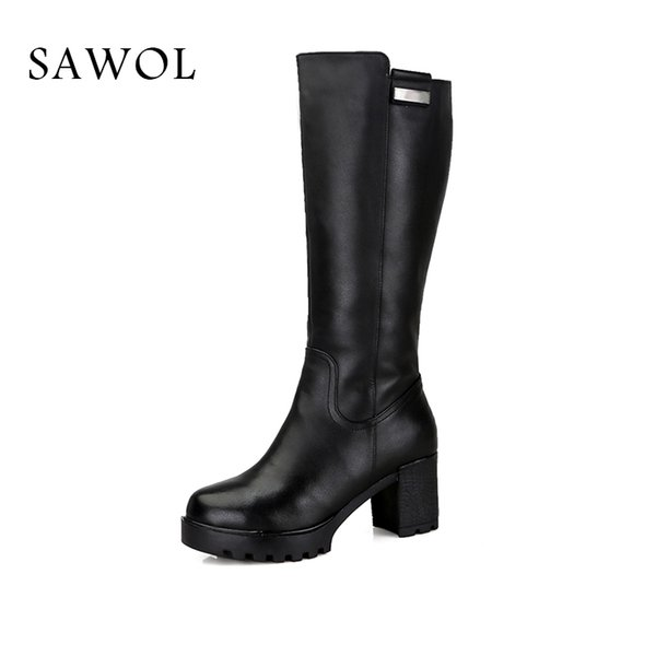 7463c30ccd8 Genuine Leather Women Winter Shoes Brand High Quality Knee High Boots  Natural Wool Shearling Warmful Women Winter Boots Sawol Boot Socks Biker  Boots ...