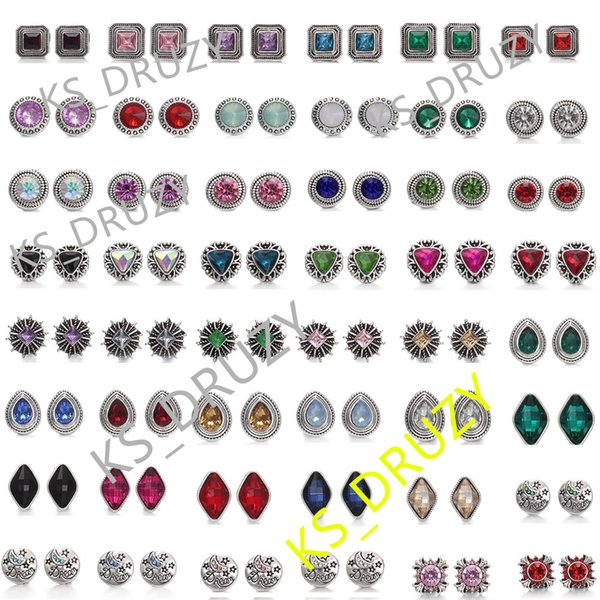 Mixed styles NOOSA Chunks 12mm Crystal Snap Button Jewelry Square Cube Triangle Rhinestone Snap Button DIY Chunks Bracelet Ring Party Gift