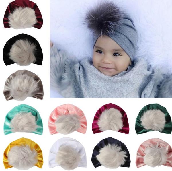2018 bambini cadono cappelli invernali all'ingrosso di natale pon pon di pelliccia cappello bambino velluto berretti bonnet ragazze indiani musulmano turbante cranio cap 11 colori